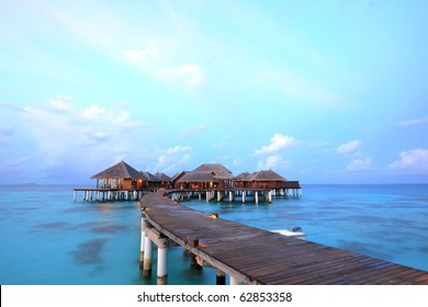 Overwater bungalows on the lagoon