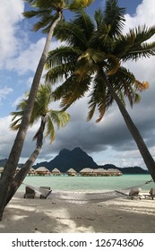 Over-water bungalows on the lagoon at Bora Bora