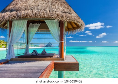 Overwater luxurious spa in the tropical blue lagoon of Maldives