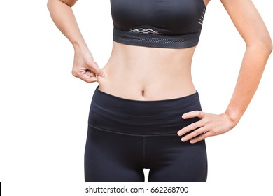 0a6246bf52077 Overweight, Advertise, Healthy lifestyles concept - Slim waist woman's body  on a white background