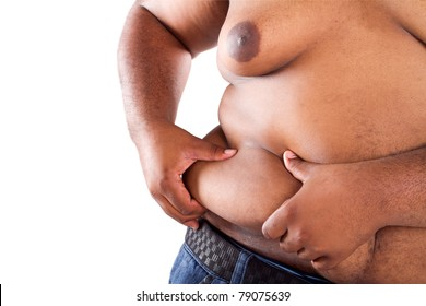 overweight african american man
