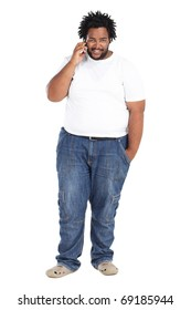overweight african american man speaking on the phone