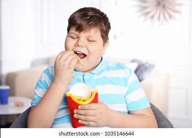Overweight boy eating french fries indoors