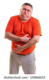 Overweight man with strong stomach pain isolated on white background