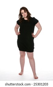 overweight teenage girl in short black dress and bare feet