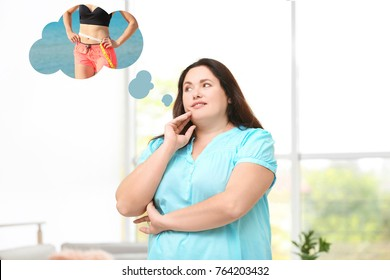 Overweight woman dreaming about slim body at home. Weight loss concept