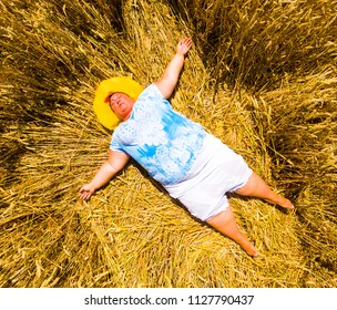 Overweight woman with heat stroke. Health protection in hot weather. Travel insurance theme.