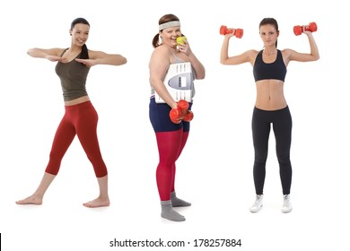 Overweight woman on diet doing fitness exercise with slim sporty girls.