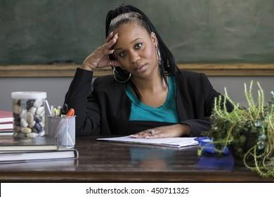 Overwhelmed black female teacher