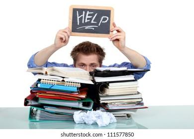 overwhelmed man asking for help