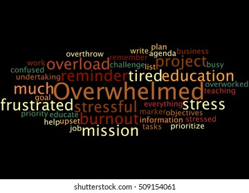 Overwhelmed, word cloud concept on black background.