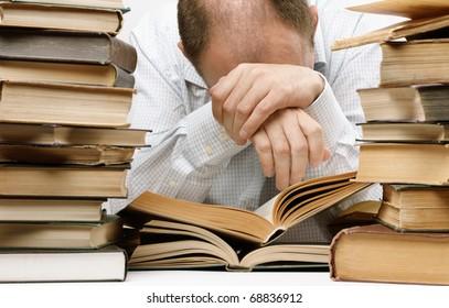 overwork , selective focus on part of head