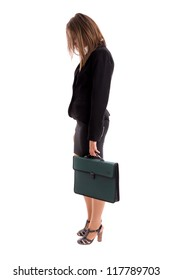 Overworked business woman carring her briefcase against white background