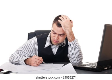 Overworked businessman isolated over white background