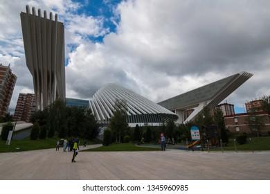 Oviedo, Asturias, Spain - Agost 09, 2017: Exhibition and Congress center Ciudad de Oviedo in Asturias. Designed by architect Santiago Calatrava, inaugurated in 2011 Spain