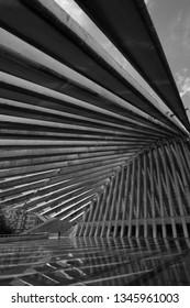 Oviedo, Asturias, Spain - Agost 09, 2017: Exhibition and Congress center Ciudad de Oviedo in Asturias. Designed by architect Santiago Calatrava, inaugurated in 2011 Spain. Picture in black and white