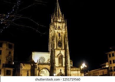 OVIEDO, ASTURIAS, SPAIN/DECEMBER 22 2018: Oviedo: Amazing one Tower Gothic Cathedral of Oviedo, Asturias Spain in the night.