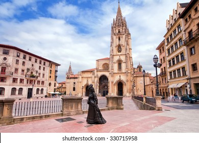 Oviedo Cathedral on Plaza Alfonso II el Casto in Asturias. Spain.