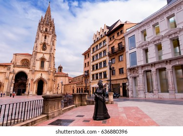 Oviedo Cathedral on Plaza Alfonso II el Casto in Asturias. Spain.