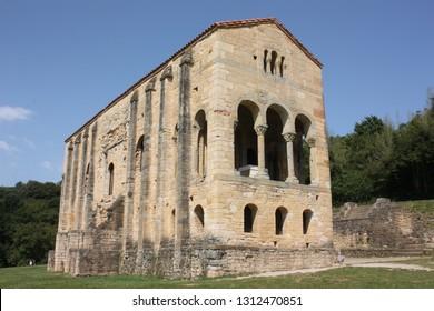 Oviedo, Spain -1st September 2018: Pre- Romanesque church of Santa Maria del Naranco, 9th. century, Oviedo, Asturias, Spain