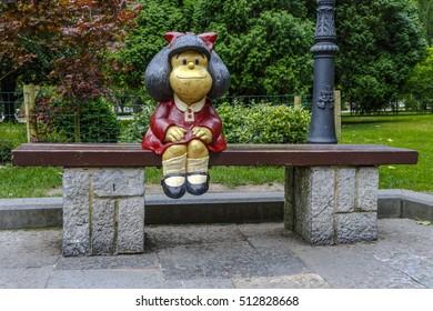 Oviedo, Spain - August 25, 2016:  Mafalda Sculpture in San Francisco Park in Oviedo (Asturias) Spain