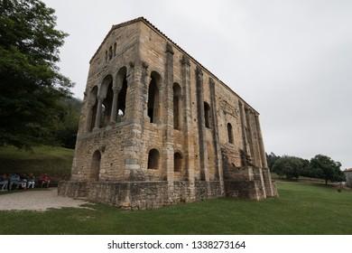 Oviedo, Spain - July 09, 2017: Church of Santa María del Naranco (Iglesia de Santa Maria del Naranco) in Asturias, Spain. A pre-romanesque church built the year 842 A.D. near Oviedo, Asturias, Spain.