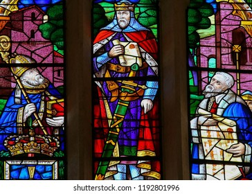 Oviedo, Spain - July 17, 2014:  Stained glass window depicting King Ramiro I (790-850) of Asturias, in the cathedral of San Salvador in Oviedo, Asturias, Spain.