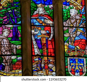 Oviedo, Spain - July 17, 2014:  Stained glass depicting King Fruela I  the Cruel of Asturias, founder of Oviedo, in the cathedral of San Salvador in Oviedo, Asturias, Spain.