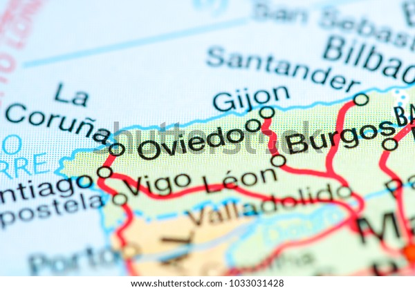 Map Of Spain Oviedo.Oviedo Spain On Map Stock Photo Edit Now 1033031428