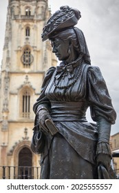 OVIEDO, SPAIN-AUGUST 10, 2021: Statue dedicated to La Regenta in front of Oviedo Cathedral (Sculptor: Mauro Alvarez Fernandez)
