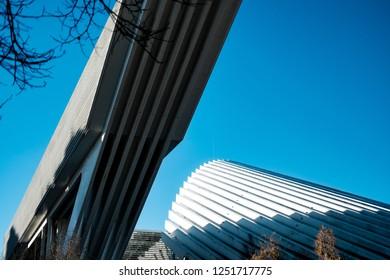 OVIEDO,ASTURIAS,SPAIN/DECEMBER 22 2018: Modern architecture in Oviedo. Calatrava style in the streets of Oviedo, Asturias, Spain
