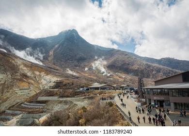 Owakudani mountain with sulphur gas taken from Hakone ropeway (Owakudani station) in daytime, Kanagawa, Japan, March 11th 2018