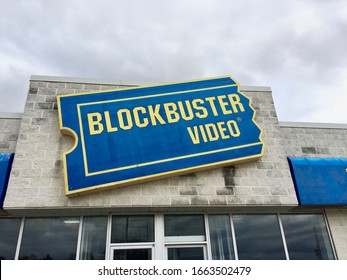 Owen Sound, Ontario / Canada - October 12 2019: Out of business Blockbuster in Owen SOund