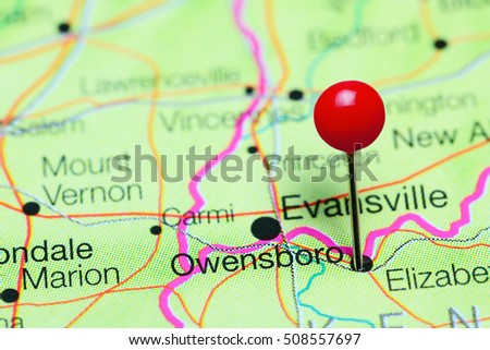 Kentucky On Usa Map.Owensboro Pinned On Map Kentucky Usa Stock Photo Edit Now