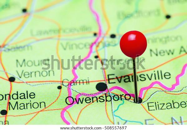 Owensboro Pinned On Map Kentucky Usa Stock Photo (Edit Now ...