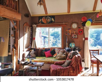 Owhango, New Zealand - May 13, 2017: This French couple's cozy eco-house is located near native forest. The living room decorating is unique, beautiful and warm.