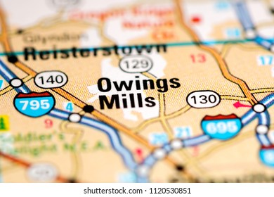 Owings Mills. Maryland. USA on a map