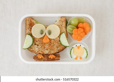 Owl healthy sandwich lunch box, fun food art for kids