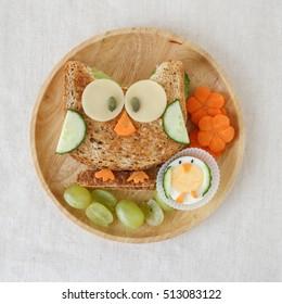 Owl healthy sandwich lunch, fun food art for kids