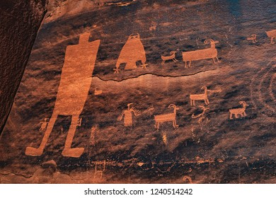 The Owl Panel, a stunning rock art collection of petroglyphs off Kane Creek Boulevard outside of Moab, Utah, USA.  This canyon holds archaic, anasazi (ancestral puebloan), Fremont, and Ute rock art.
