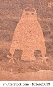 Owl petroglyph on sandstone wall near Moab in Utah. Prehistoric rock art of Pueblo Indians. Moab. Utah. United States.