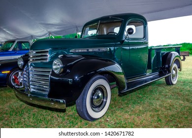 Owls Head, Maine, USA  - August 15, 2017 : 1942 GMC pickup truck for sale at annual Owls Head auto auction in Owls Head, Maine.