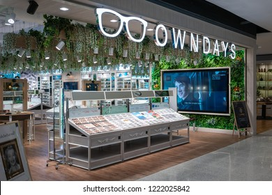 OWNDAYS shop at Central World, Bangkok, Thailand, Oct 19, 2018 : International optical shop chain interior with variety fashionable brand of  glasses and sunglasses display.