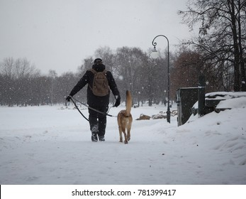 The owner and the dog go around the track. The snow falls
