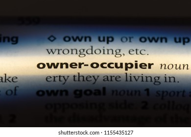 owner occupier word in a dictionary. owner occupier concept.