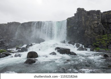 Oxararfoss, a waterfall situated within Thingvellir National Park in South Iceland that flows out from the river Oxara