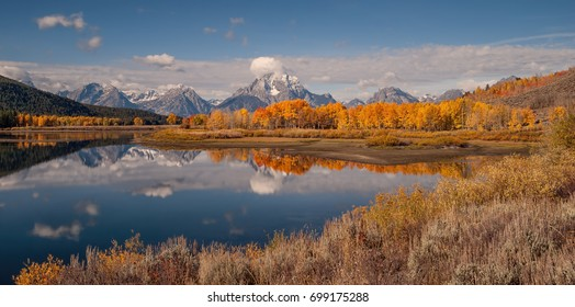 Oxbow Bend in the Fall with a Beautiful Reflection of Mount Moran, Grand Teton National Park, Wyoming