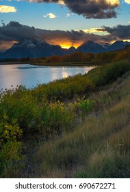 Oxbow Bend Point in Grand Teton during sunset