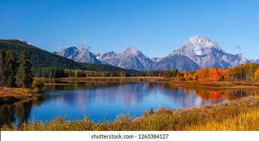 Oxbow Bend in Wyoming at Grand Teton National Park is one of the most popular tourist stops with its beauty, no matter what time of the day, sunset, sunrise or mid day.