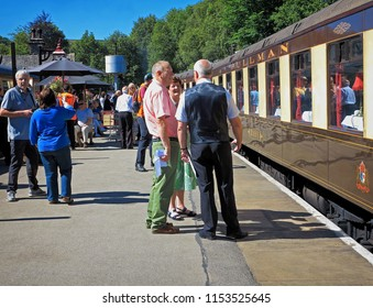 Oxenhope, England, 25 June 18, The historic Pullman carriage at Oxenhope Station, editorial